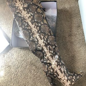 PrettyLittleThing Shoes - Thigh High Snake Print Point Block Heels